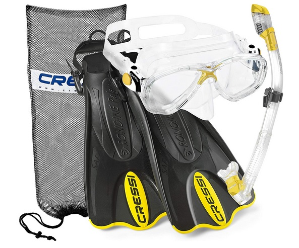 Cressi Palau Mask Snorkel and Fin Set with Snorkeling Gear Bag