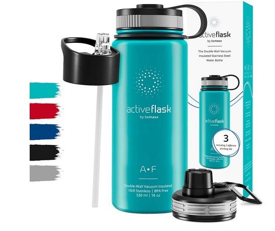 Trinkflasche Edelstahl ACTIVE FLASK + Strohhalm