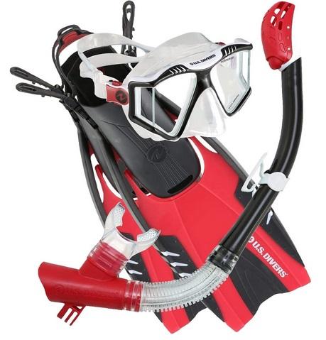 U.S. Divers Lux Platinum Snorkeling Set red