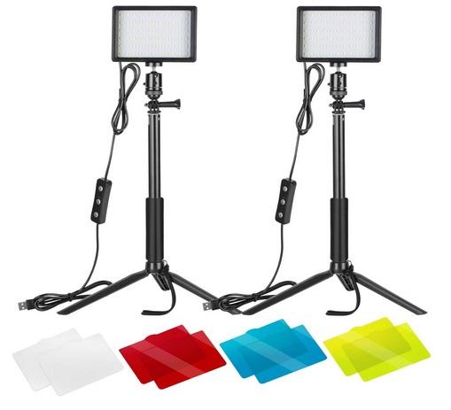Neewer 2er-Pack dimmbares 5600K USB-LED-Videolicht mit verstellbarem Stativ