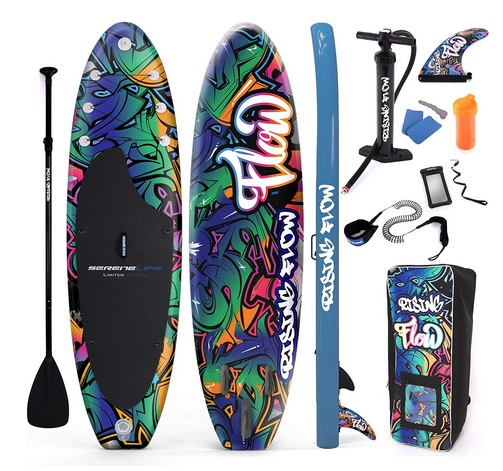 SereneLife Inflatable Stand Up Paddle Board grafitti iSUP