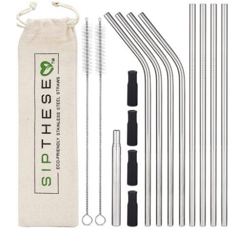 SipThese 8 pc Stainless Steel Straws