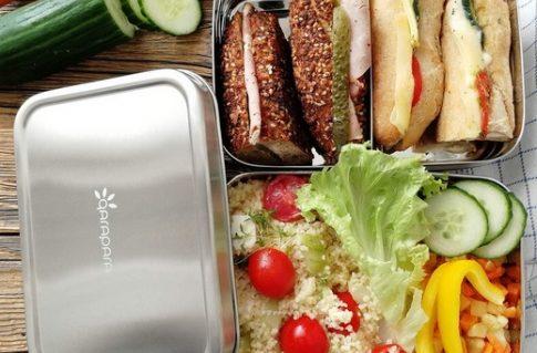 qarapara - Große Edelstahl Brotdose Lunchbox mit Fächern und 2 Ebenen plastikfrei